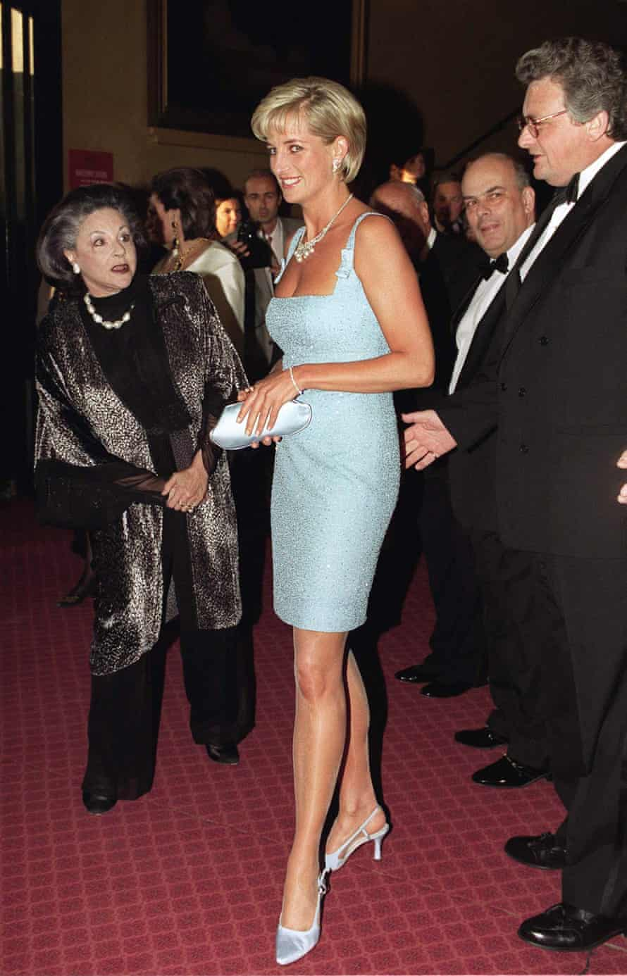 Diana attends a performance of Swan Lake at the Royal Albert Hall in west London. She is wearing a Jacques Azagury dress and Jimmy Choo slingbacks.