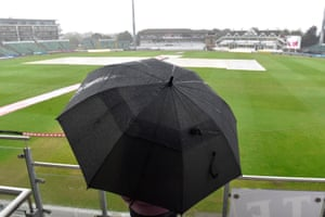 Rain falls during the women's Ashes Test in Taunton