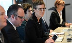 ACTU secretary Sally McManus listens as industrial relations minister Christian Porter speaks during the coronavirus roundtable
