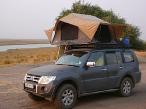We soon got used to sleeping in the roof-tent above our car.