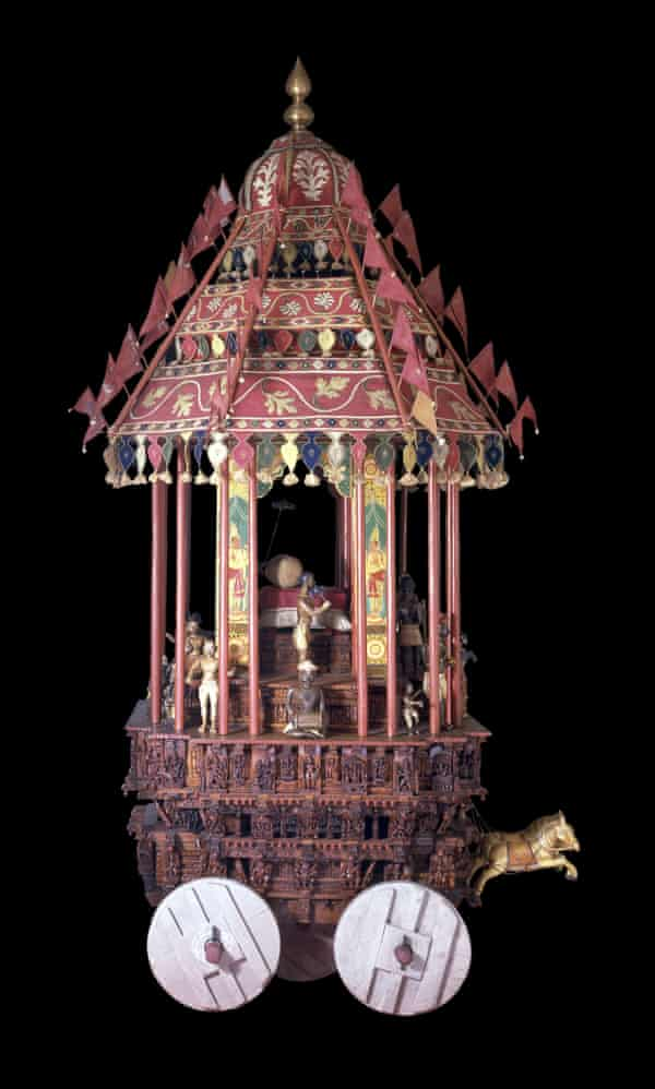A painted wooden model of an 18th-century Hindu temple vehicle