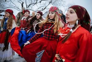 Young women join the dancing