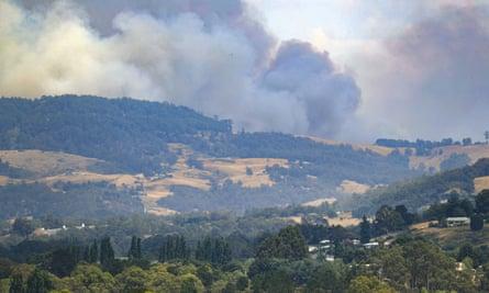Smoke billows from a bushfire south of Huonville in southern Tasmania last week