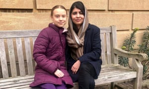 Inspirational … Thunberg with Yousafzai this week at the University of Oxford.