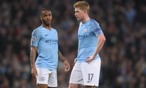 Raheem Sterling and Kevin De Bruyne in Champions League action for Manchester City.