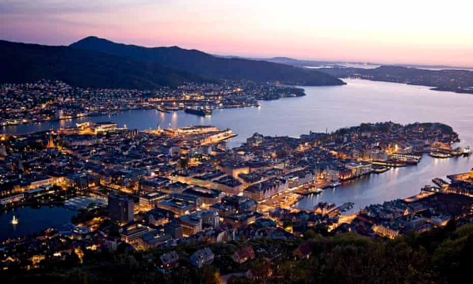 View at dusk in late spring of the waterfront and harbour of Bergen from the top of the Fløibanen funicular railway