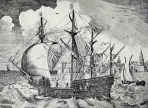 Sixteenth-century Portuguese or Spanish ship by Pieter Bruegel.