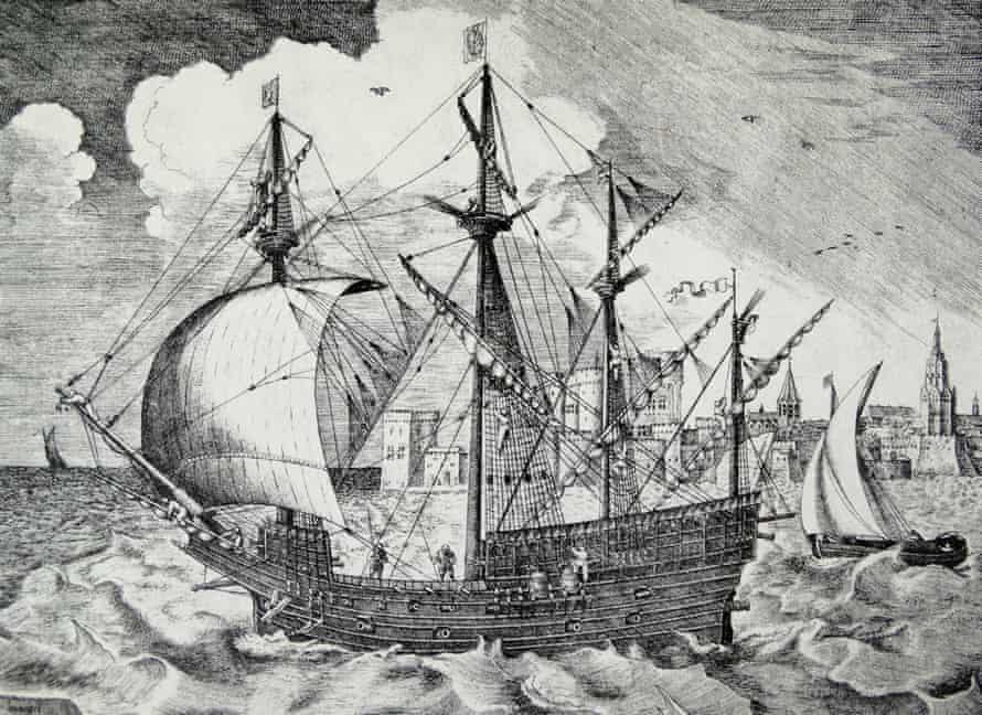 Sixteenth-century Portuguese or Spanish ship by Pieter Bruegel.