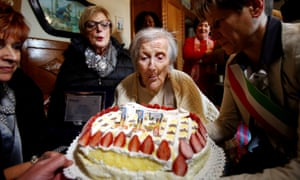 Emma Morano on her 117th birthday. Morano attributed her longevity to genetics and raw eggs but had no comment on bacon.