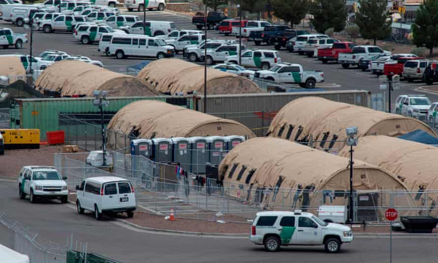 Tents at a temporary holding facility for migrants that has been in use since early May in El Paso, Texas.