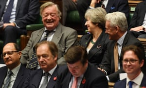 Ken Clarke, who is standing down as an MP after 49 years, sitting alongside Theresa May on the Tory backbenches during prime minister's questions on Wednesday