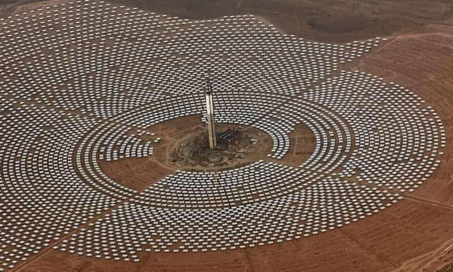Aerial view of the Noor 3 solar power station, near Ouarzazate, southern Morocco