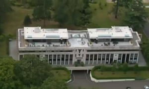 A still from the video of the BBC's coverage of the police raid on Sir Cliff Richard's home in Berkshire.