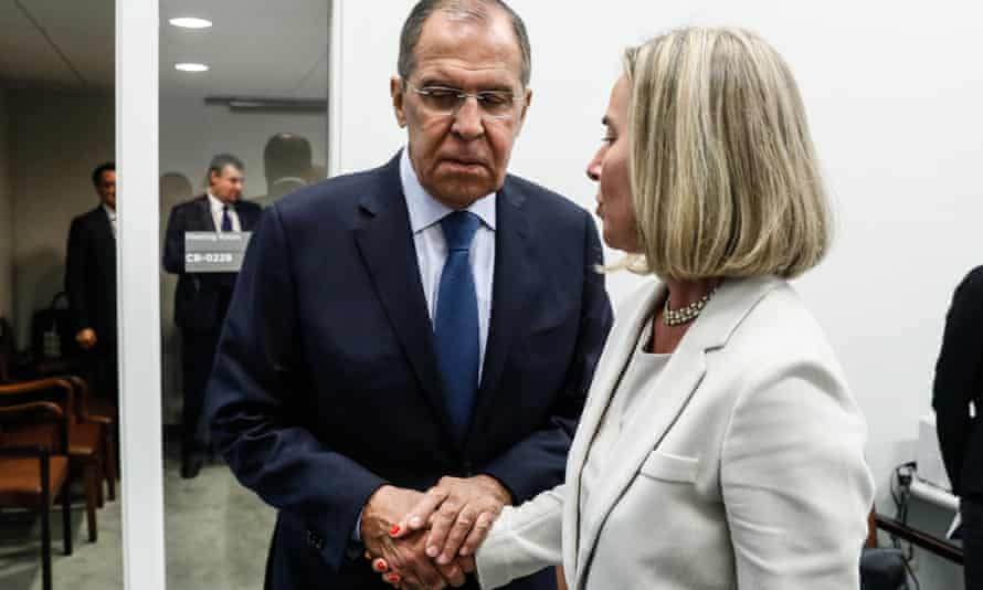 Russian foreign minister Sergey Lavrov with EU external affairs chief Federica Mogherini in New York on Tuesday.