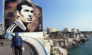 A poster of Zinedine Zidane, the French football star from Marseille's La Castellane estate.