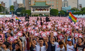 A huge crowd participates in a rally in Taipei before the forthcoming referendum on gay rights