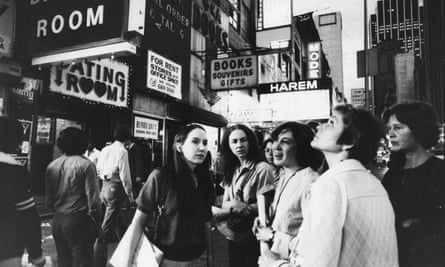 Susan Brownmiller leading a Women Against Pornography tour of Times Square, New York, in 1979.