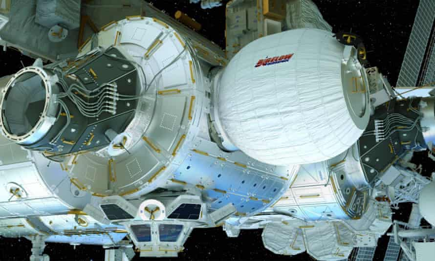 The Bigelow Expandable Activity Module (BEAM), center right, attached to the International Space Station.
