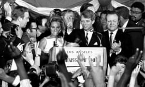 Senator Robert Kennedy speaks his final words to supporters at the Ambassador hotel in Los Angeles moments before he was shot on 5 June 1968.