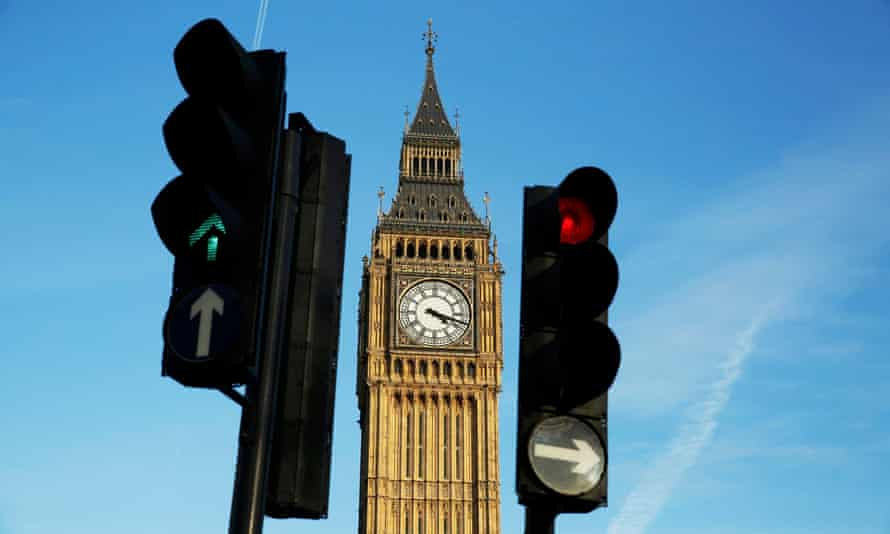 Traffic lights near the Houses of Parliament