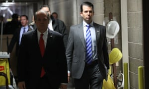 Donald Trump Jr arrives at the Senate office building on Wednesday on Capitol Hill in Washington DC.