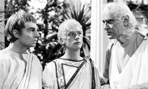 From the BBC's TV adaptation of I Claudius, with Derek Jacobi as Claudius, John Hurt as Caligula and George Baker as Tiberius.