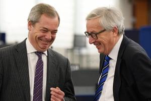 Strasbourg, France: Nigel Farage and Jean-Claude Juncker share a joke