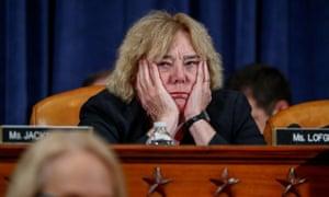 Zoe Lofgren, a California Democrat, puts her head in her hands during the meeting.