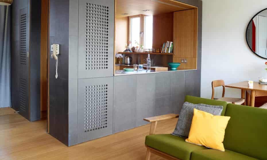 The resin-coated MDF kitchen area 'cube'.