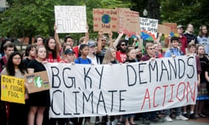 Western Kentucky University students participate in a climate strike in Bowling Green, Kentucky.