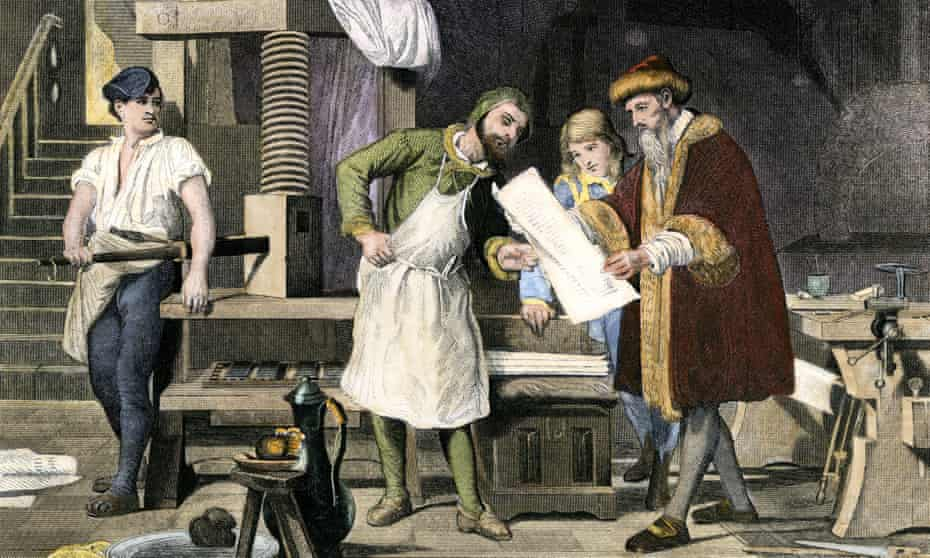 Johann Gutenberg examines a proof from his printing press in Mainz in the 1450s.