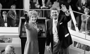 President Ronald Reagan and first lady Nancy Reagan wave to onlookers at the capitol building in Washington following the swearing in ceremony of 1981.