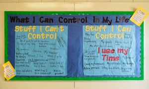 A bulletin board displays examples of things that students in pre-kindergartn through sixth grade are able to control in their lives in a hallway at Pike county elementary school on 30 August.