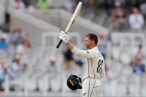 Devon Conway celebrates reaching his century