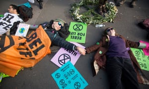 Members of the recently formed Extinction Rebellion group in Westminster on Wednesday