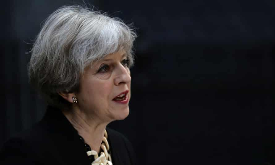 Theresa May speaks outside 10 Downing Street on Sunday morning.