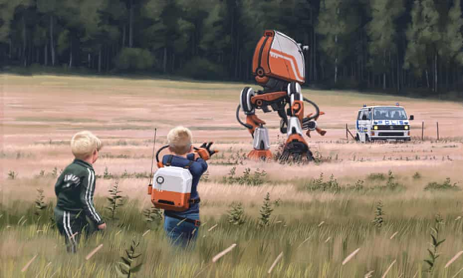 Nostalgia-dystopia ... an image in Tales from the Loop by Simon Stålenhag.