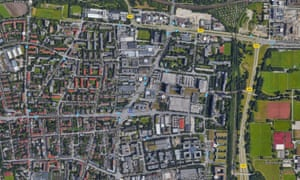 Earth satellite view of the Olympia Einkaufszentrum shopping center in Munich, Germany.