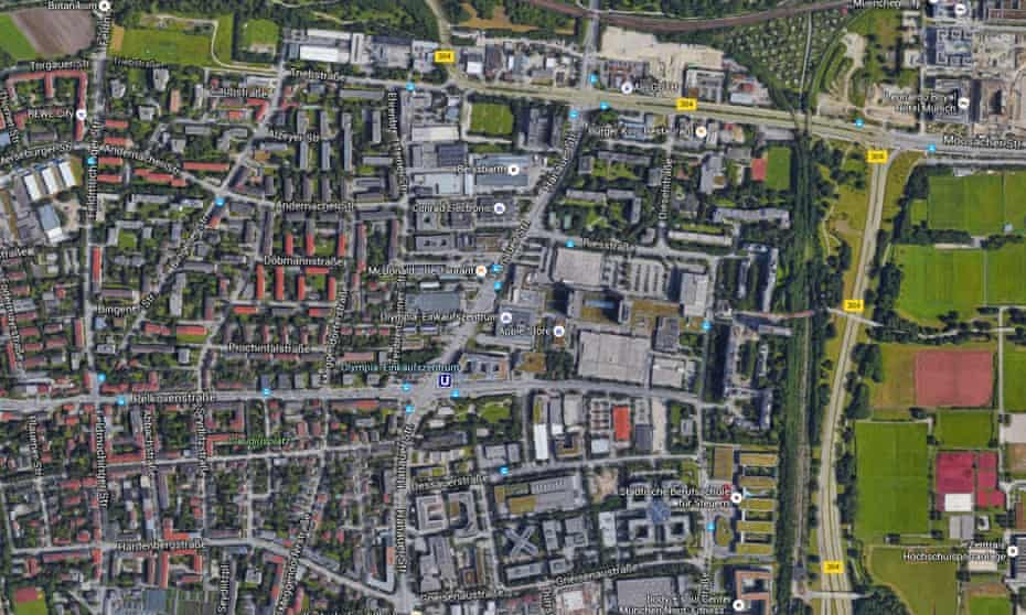 A satellite view of the Olympia shopping centre and nearby U-bahn station.