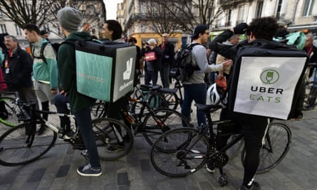 Food delivery riders in Bordeaux, France
