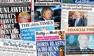 The newspapers are united in leading on the supreme court's ruling on Boris Johnson's prorogation of parliament.