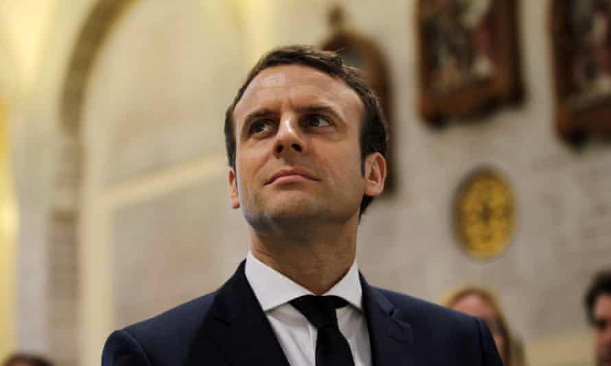 Emmanuel Macron, head of the political movement En Marche! and candidate for the French presidential elections, visits the Basilique Notre Dame d'Afrique in Algiers.
