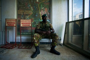 A Dominican soldier is stationed in the financial centre of Roseau
