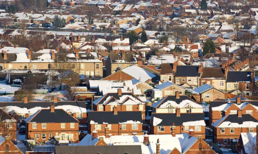 Roofs show how warmth has melted snow in poorly insulated homes