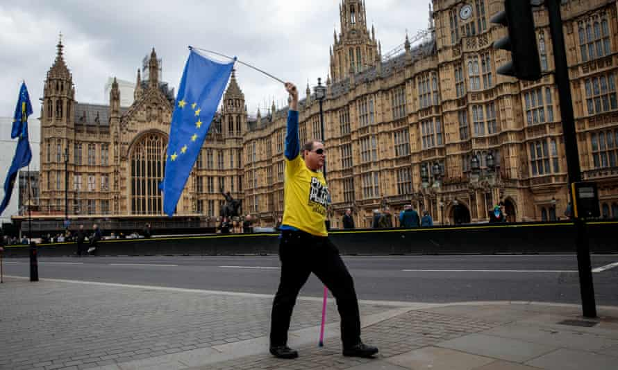 An anti-Brexit protester outside the Houses of Parliament.