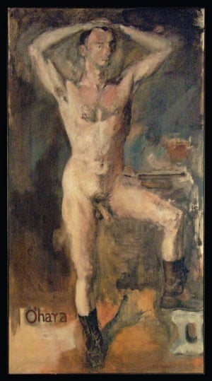 O'Hara Nude with Boots, 1954, Oil on canvas This is a portrait of a modern American hero; Frank O'Hara is today recognised as a great poet. He was also deeply involved in the art world, working as a curator at MoMA. He and Rivers were part of a downtown New York scene where dancers, musicians, poets and artists collaborated. This portrait is provocative - not so much in its nudity as its defiant realism at a time when only abstract art was taken seriously in New York.(RE)APPROPRIATIONS, selected works by Larry Rivers is at Tibor de Nagy gallery, New York, September 6 - October 29, 2017