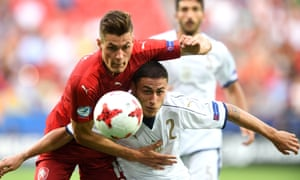 Patrik Schick, left, in action here for the Czech Republic against Italy at the Under-21 Euros, was on loan at a mid-ranked team in his homeland 13 months ago.