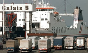 Lorries queue up at the port of Calais, in France