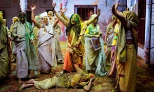 Women in India celebrating Holi, also known as the Festival of Colours.