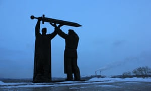 A monument commemorating Magnitogorsk's contribution to victory in the second world war.